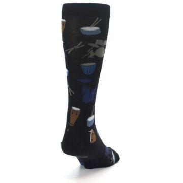 Image of Black Blue Percussion Drums Men's Dress Socks (side-1-back-20)