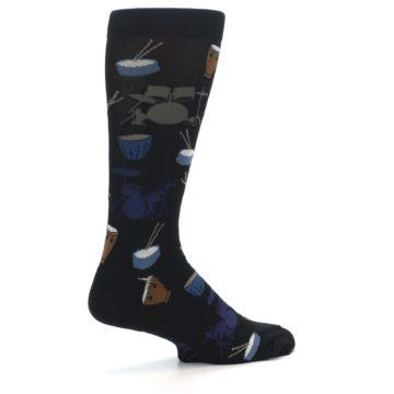 Image of Black Blue Percussion Drums Men's Dress Socks (side-1-23)