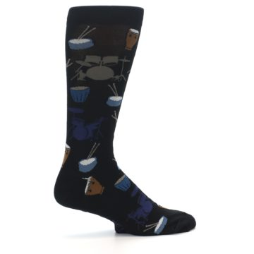 Image of Black Blue Percussion Drums Men's Dress Socks (side-1-24)