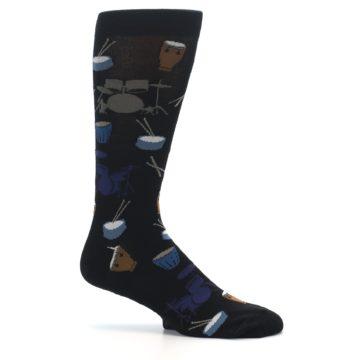 Image of Black Blue Percussion Drums Men's Dress Socks (side-1-25)