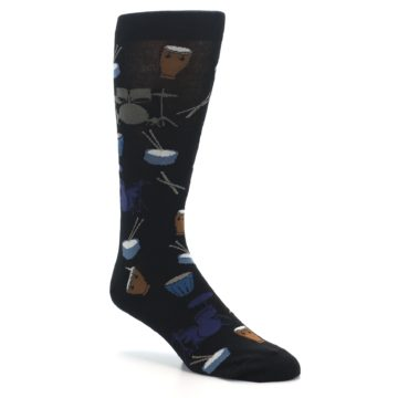 Image of Black Blue Percussion Drums Men's Dress Socks (side-1-27)