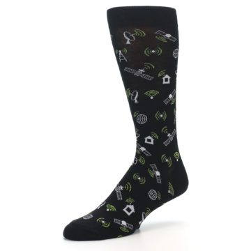 Image of Black White WiFi Tech Men's Dress Socks (side-2-09)