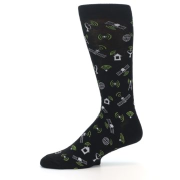 Image of Black White WiFi Tech Men's Dress Socks (side-2-11)