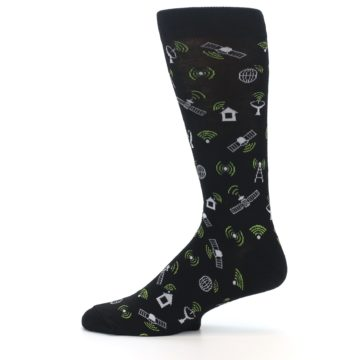 Image of Black White WiFi Tech Men's Dress Socks (side-2-12)
