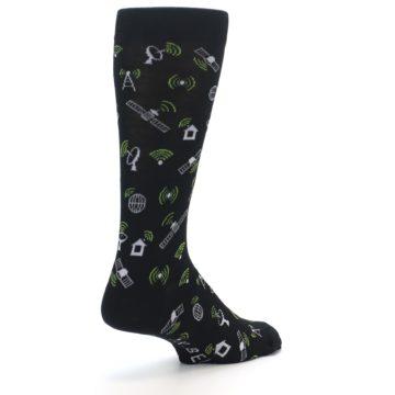Image of Black White WiFi Tech Men's Dress Socks (side-1-back-22)