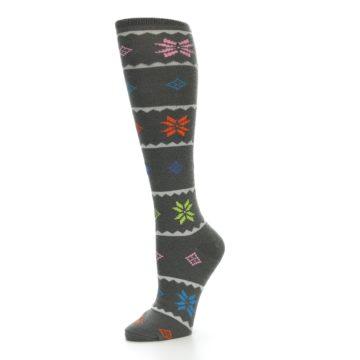 Image of Grey Multi Fair Isle Women's Knee High Socks (side-2-09)