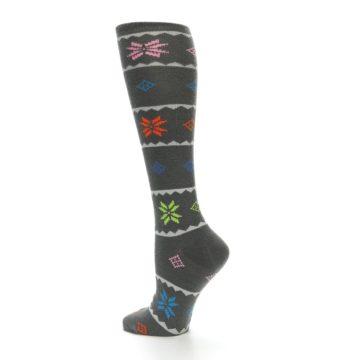 Image of Grey Multi Fair Isle Women's Knee High Socks (side-2-13)