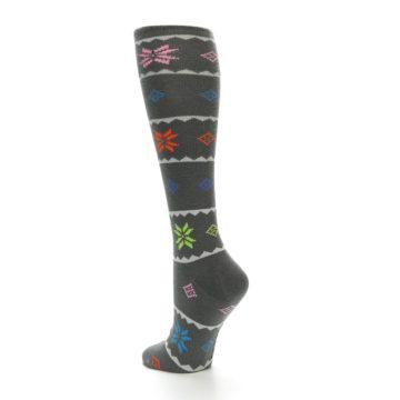 Image of Grey Multi Fair Isle Women's Knee High Socks (side-2-back-14)