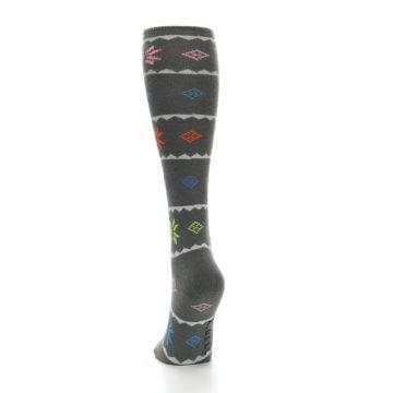 Image of Grey Multi Fair Isle Women's Knee High Socks (side-2-back-16)