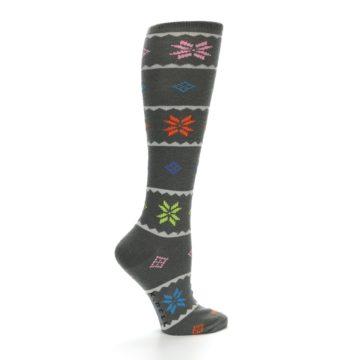 Image of Grey Multi Fair Isle Women's Knee High Socks (side-1-23)