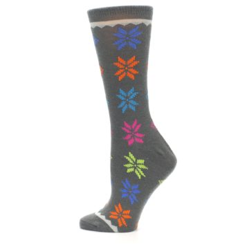 Image of Grey Multi Fair Isle Wool Women's Dress Socks (side-2-12)