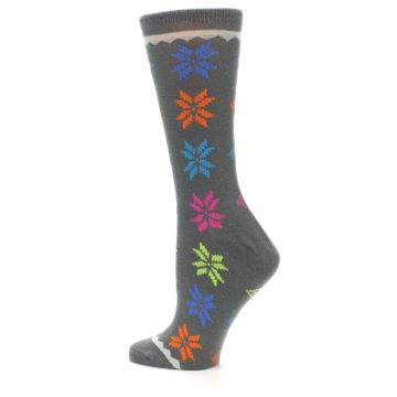 Image of Grey Multi Fair Isle Wool Women's Dress Socks (side-2-13)