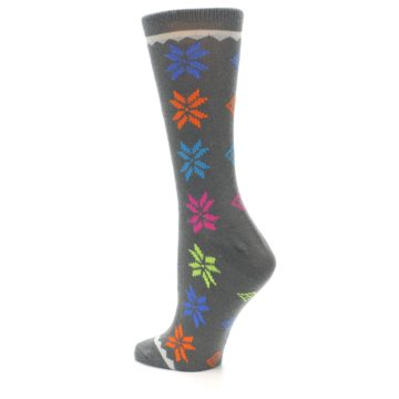 Image of Grey Multi Fair Isle Wool Women's Dress Socks (side-2-back-14)