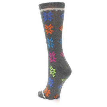 Image of Grey Multi Fair Isle Wool Women's Dress Socks (side-2-back-15)