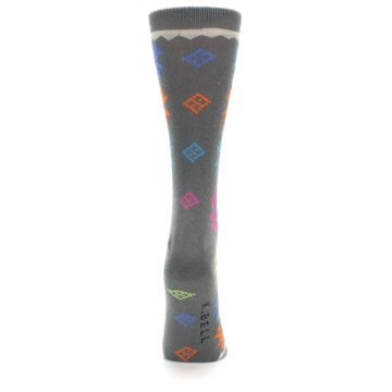 Image of Grey Multi Fair Isle Wool Women's Dress Socks (back-19)