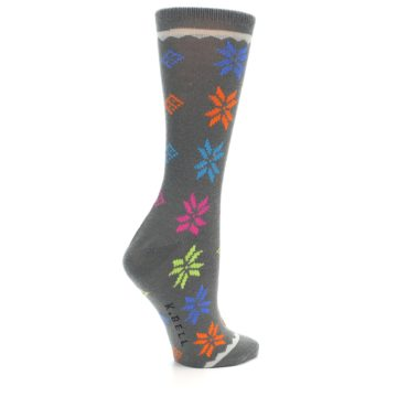 Image of Grey Multi Fair Isle Wool Women's Dress Socks (side-1-23)