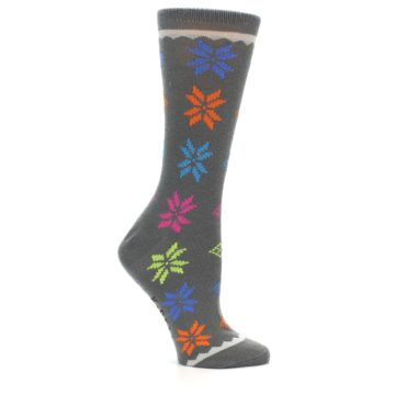 Image of Grey Multi Fair Isle Wool Women's Dress Socks (side-1-25)