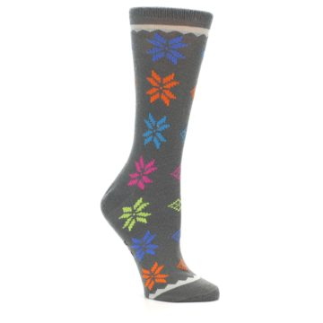 Image of Grey Multi Fair Isle Wool Women's Dress Socks (side-1-26)