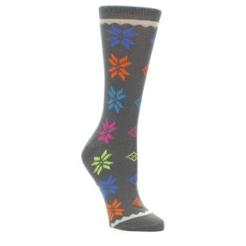 Image of Grey Multi Fair Isle Wool Women's Dress Socks (side-1-27)