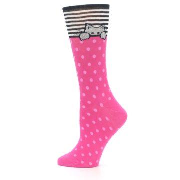 Image of Pink Polka Dot Cat Women's Dress Socks (side-2-12)