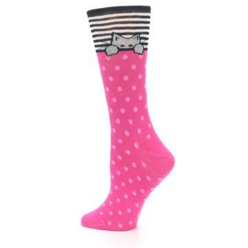 Image of Pink Polka Dot Cat Women's Dress Socks (side-2-13)