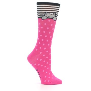 Image of Pink Polka Dot Cat Women's Dress Socks (side-1-25)