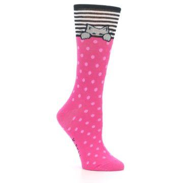 Image of Pink Polka Dot Cat Women's Dress Socks (side-1-26)