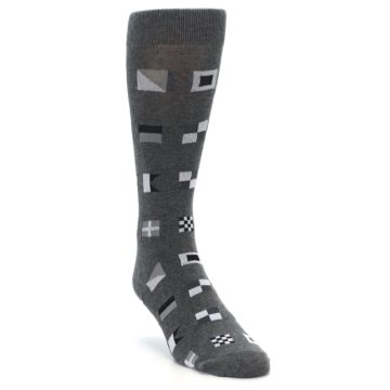 Image of Grey Nautical Flags Men's Dress Socks (side-1-front-02)