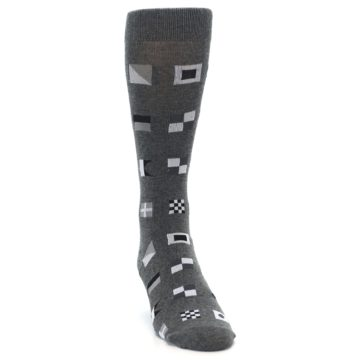 Image of Grey Nautical Flags Men's Dress Socks (side-1-front-03)
