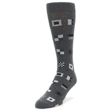 Image of Grey Nautical Flags Men's Dress Socks (side-2-front-07)