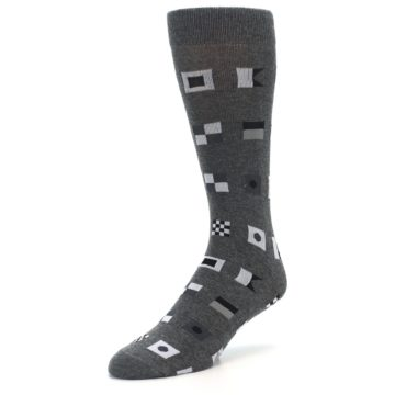 Image of Grey Nautical Flags Men's Dress Socks (side-2-front-08)