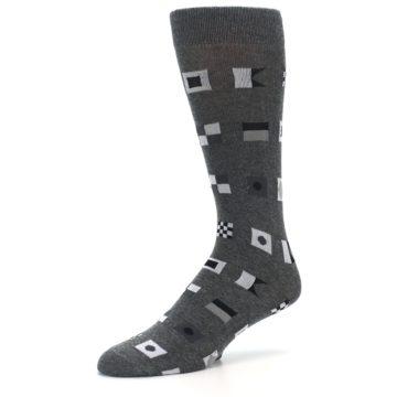 Image of Grey Nautical Flags Men's Dress Socks (side-2-09)