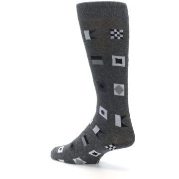 Image of Grey Nautical Flags Men's Dress Socks (side-2-back-14)