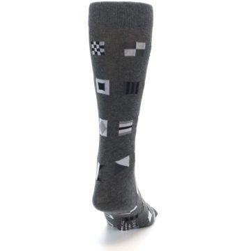 Image of Grey Nautical Flags Men's Dress Socks (back-19)
