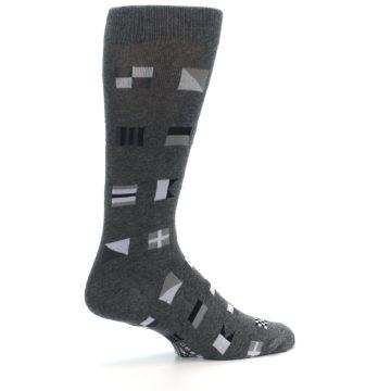 Image of Grey Nautical Flags Men's Dress Socks (side-1-23)