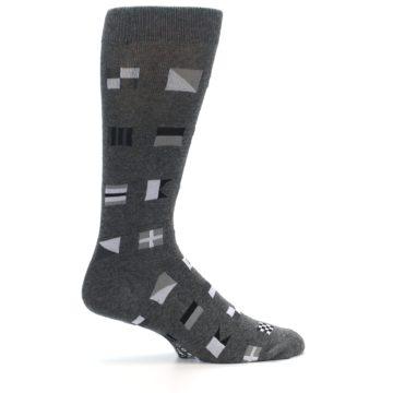 Image of Grey Nautical Flags Men's Dress Socks (side-1-24)