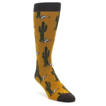 Image of Golden Yellow Green Cactus Men's Dress Socks (side-1-front-02)