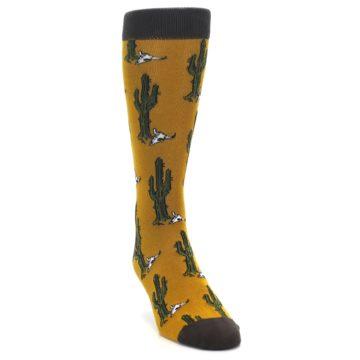 Image of Golden Yellow Green Cactus Men's Dress Socks (side-1-front-03)