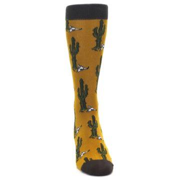 Image of Golden Yellow Green Cactus Men's Dress Socks (front-04)