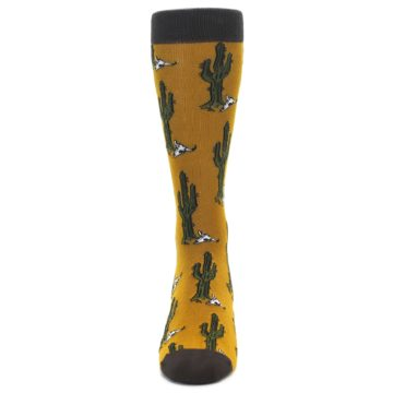 Image of Golden Yellow Green Cactus Men's Dress Socks (front-05)
