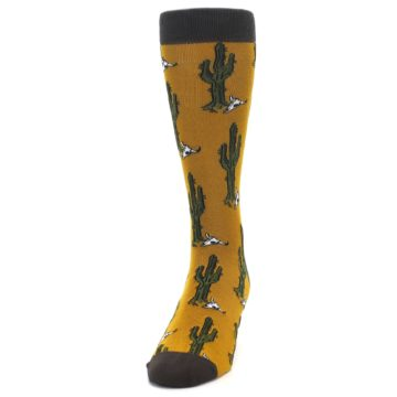 Image of Golden Yellow Green Cactus Men's Dress Socks (side-2-front-06)
