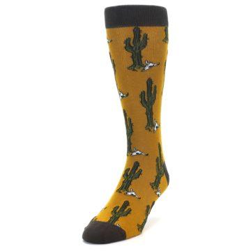 Image of Golden Yellow Green Cactus Men's Dress Socks (side-2-front-07)