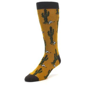 Image of Golden Yellow Green Cactus Men's Dress Socks (side-2-front-08)