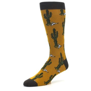 Image of Golden Yellow Green Cactus Men's Dress Socks (side-2-09)
