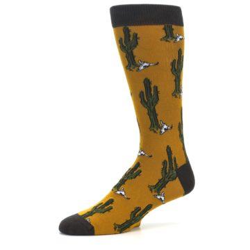Image of Golden Yellow Green Cactus Men's Dress Socks (side-2-10)