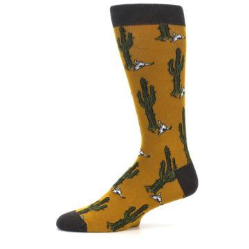 Image of Golden Yellow Green Cactus Men's Dress Socks (side-2-11)