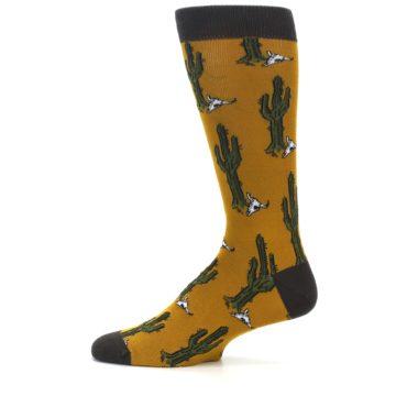 Image of Golden Yellow Green Cactus Men's Dress Socks (side-2-12)