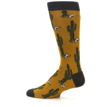 Image of Golden Yellow Green Cactus Men's Dress Socks (side-2-13)