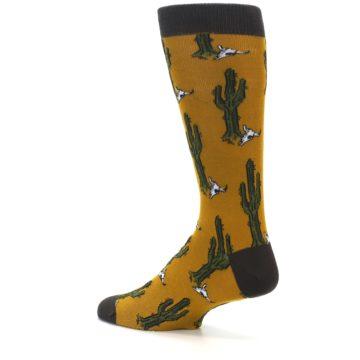 Image of Golden Yellow Green Cactus Men's Dress Socks (side-2-back-14)