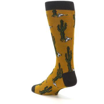 Image of Golden Yellow Green Cactus Men's Dress Socks (side-2-back-15)